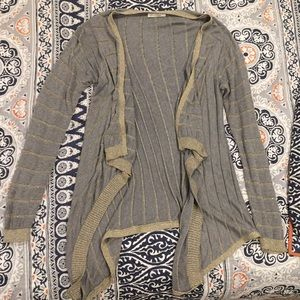 Long grey and gold knit cardigan